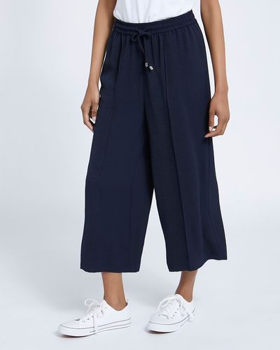 Washed Twill Wide Leg Crop Trousers thumbnail