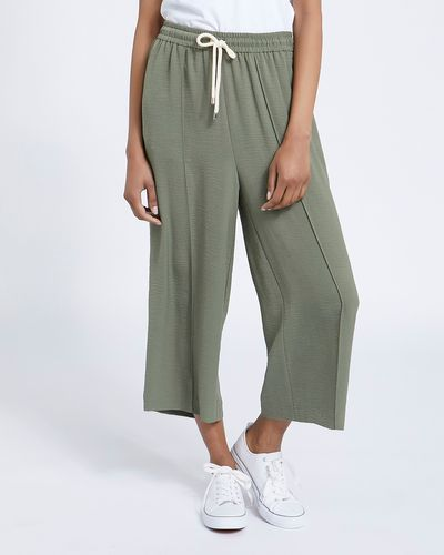 Washed Twill Wide Leg Crop Trousers