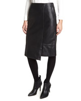 black Leather Look Wrap Pencil Skirt
