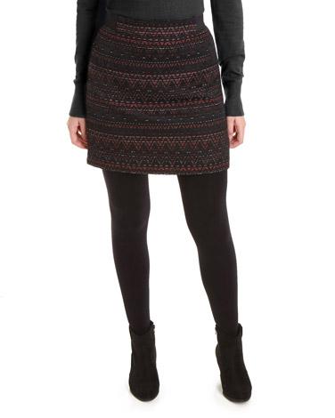 black-redElasticated Waist Jacquard Skirt