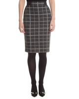 grey Check Pull On Pencil Skirt