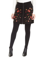 black Embroidered Faux Suede Skirt