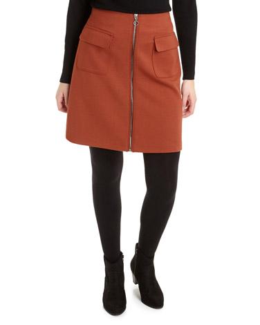 rustZip Front Ponte Skirt
