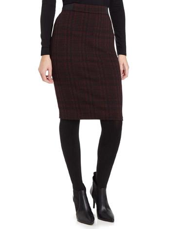burgundyCheck Pull On Pencil Skirt