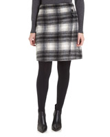 grey Brushed Check Stud Detail Skirt