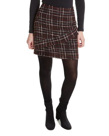 burgundyCheck Boucle Frill Detail Skirt