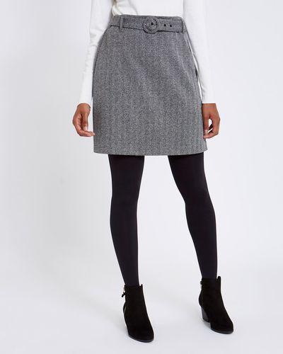 Belted Twill Herringbone Skirt