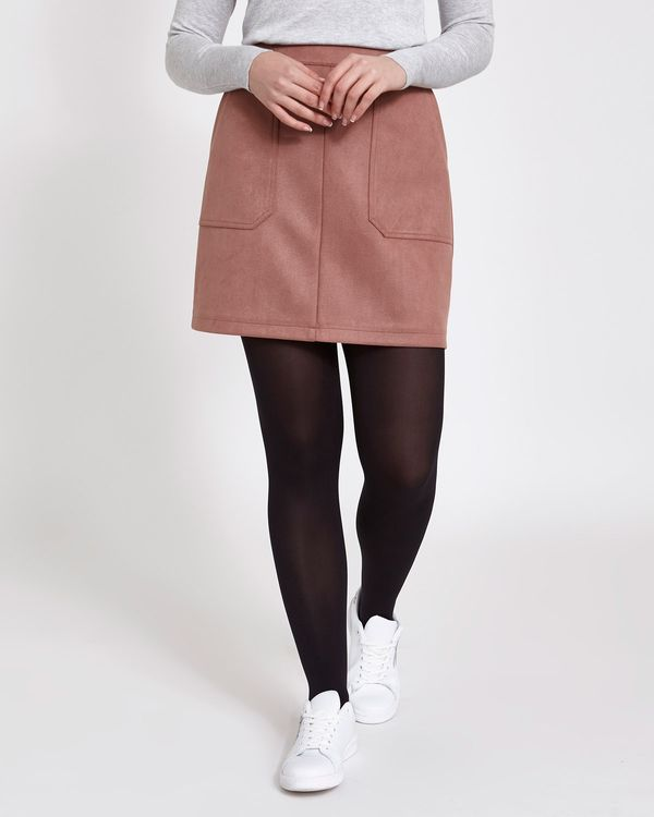 Faux Suede Twill Mini Skirt