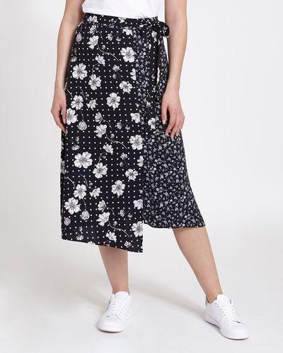 Mixed Floral Print Midi Skirt thumbnail