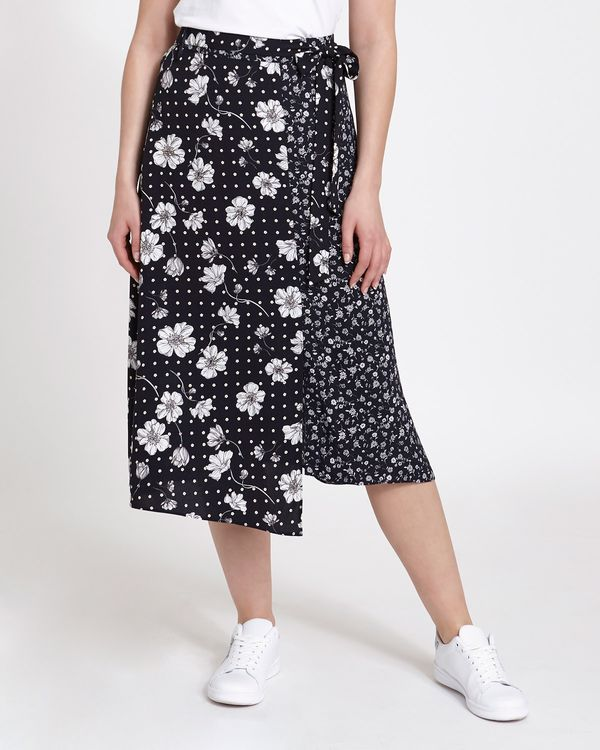Mixed Floral Print Midi Skirt