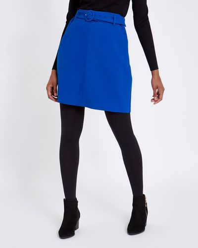 Belted Twill Solid Mini Skirt