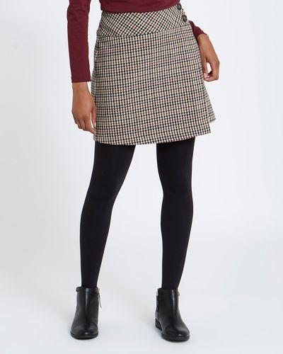 Check Wrap Mini Skirt