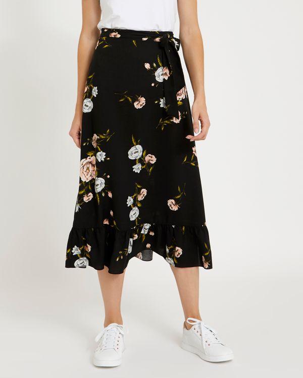 Printed Frill Midi Skirt