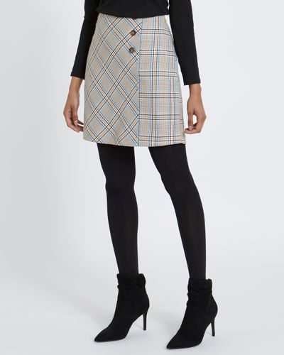 Check Button Front Mini Skirt