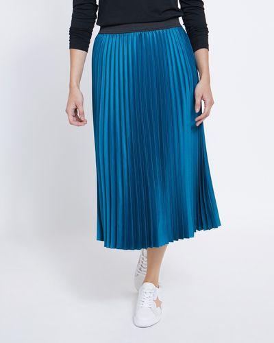 Pleated Satin Midi Skirt thumbnail