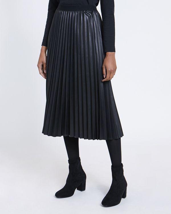 Pleat PU Midi Skirt