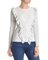 grey-marl Ruffle V Jumper
