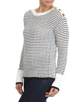 black-cream Textured Button Detail Jumper