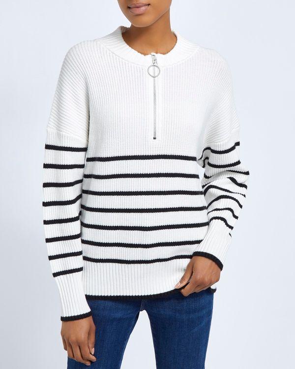 Stripe Zip Funnel Knit