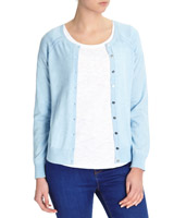 blue Button-Up Cardigan