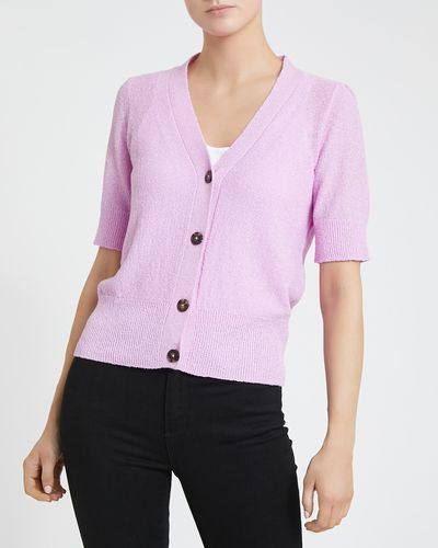 Short-Sleeved Button Detail Cardigan