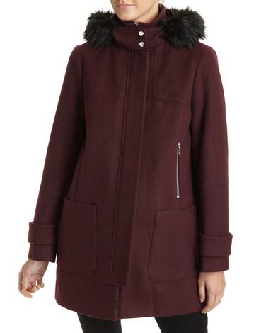 burgundyZip Duffle Coat