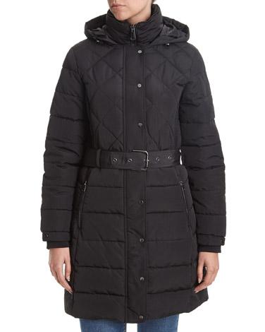 blackRib Detail Padded Coat