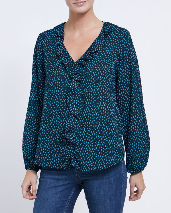 V Ruffle Front Blouse
