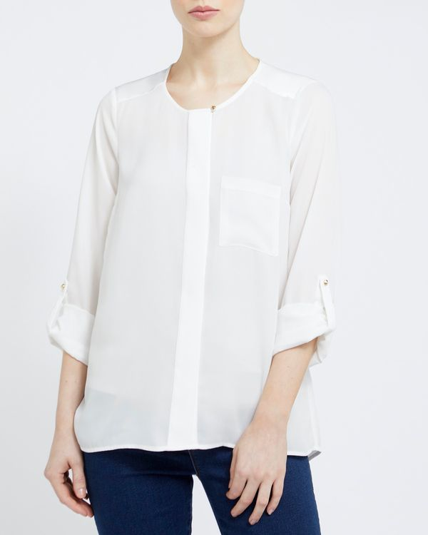 Satin Mix Solid Blouse