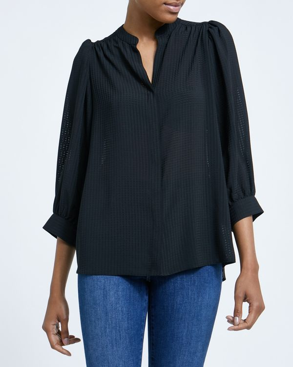 Button Front Three Quarter Sleeve Blouse