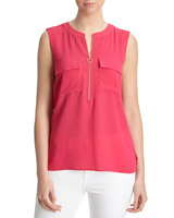 bright-pink Zip Front Blouse