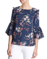 print Frill Detail Top