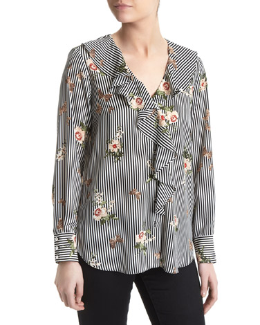 print Frill Front Blouse