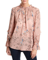 blush Printed Frill Sleeve Blouse