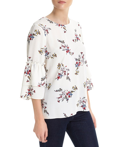 ivory Printed Frill Sleeve Blouse