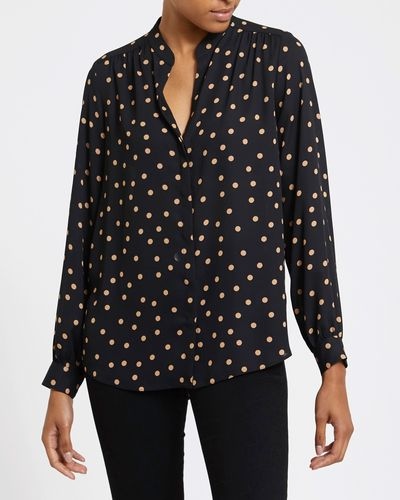 Spot V-Neck Blouse
