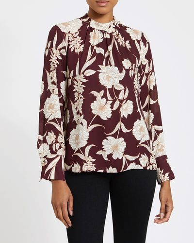 Printed High Neck Blouse