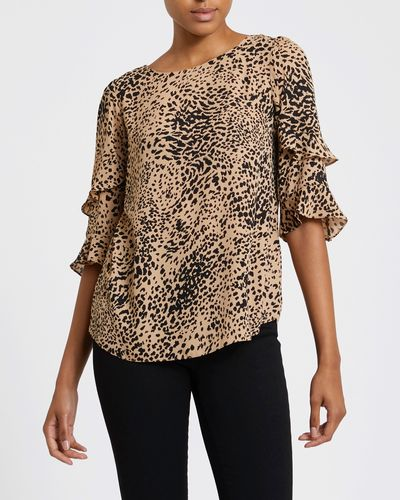 Animal Frill Sleeve Top