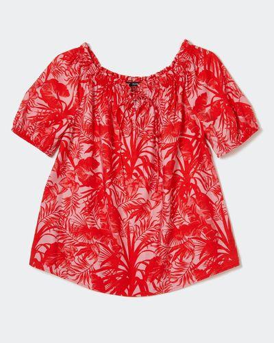 Red Print Bardot Blouse