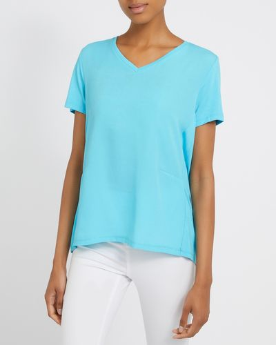 Short-Sleeved Woven Front Top thumbnail