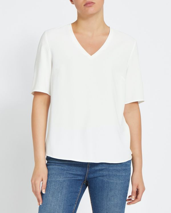 Short-Sleeved Woven Front Top