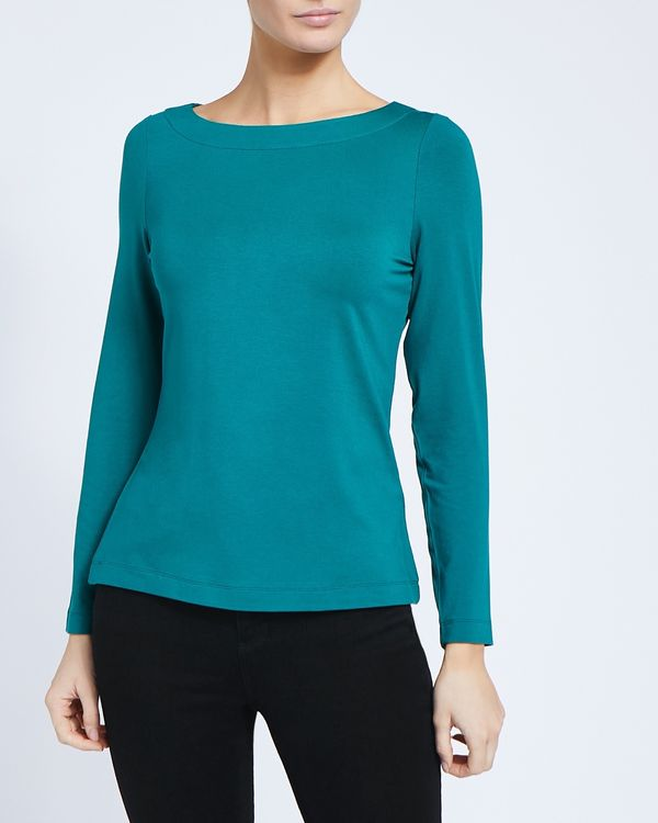 Long-Sleeved Boat-Neck Top