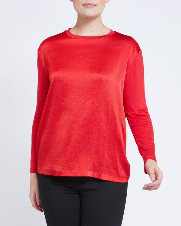 Jersey Mix Long Sleeve Top