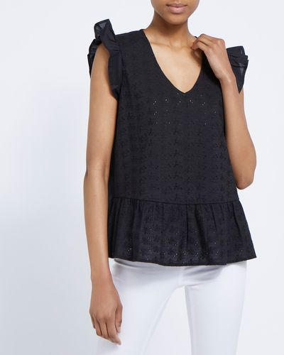 Peplum Embroidery Lace Detail Top