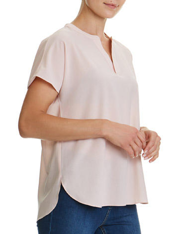 blush V-Neck Woven Top