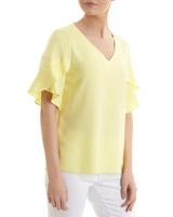 lemon Ruffle Sleeve Top