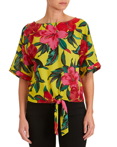floralFloral Woven Tie Front Top