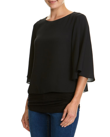 black Double Layer Top