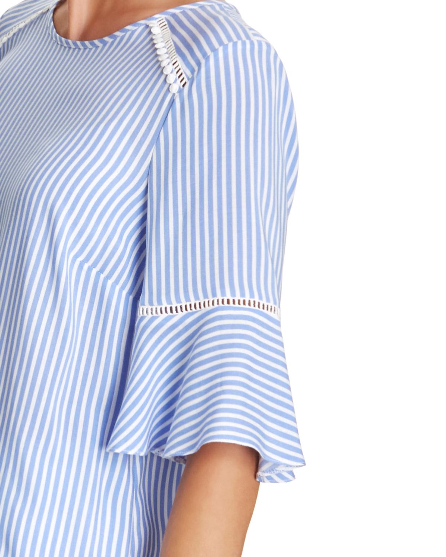 351456632 Stripe Frill Sleeve Top