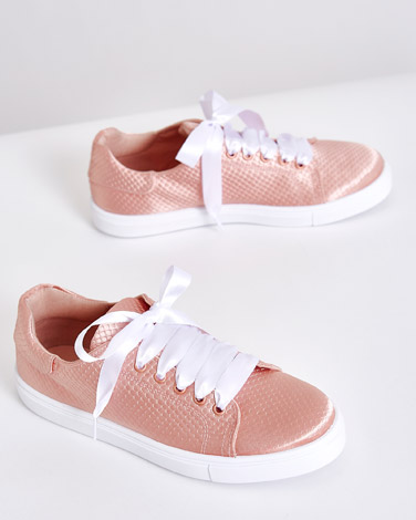 blush Savida Satin Trainers
